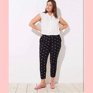Loft Marisa Slim Dachshund Dog Print Black Pants